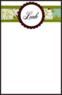 Leah  notecards